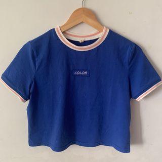 藍色短板上衣 粉紅滾邊 可愛風格