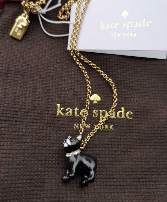 全新 美國正品 KateSpade 黑色鬥牛犬 琺瑯釉 小黑狗 鍍金項鍊 耳環 耳針 狗狗不褪色