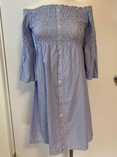 Abercrombie & Fitch 藍白條紋平口洋裝