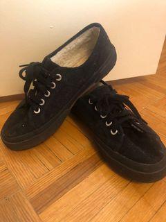 Black- fur lined Superga Shoes