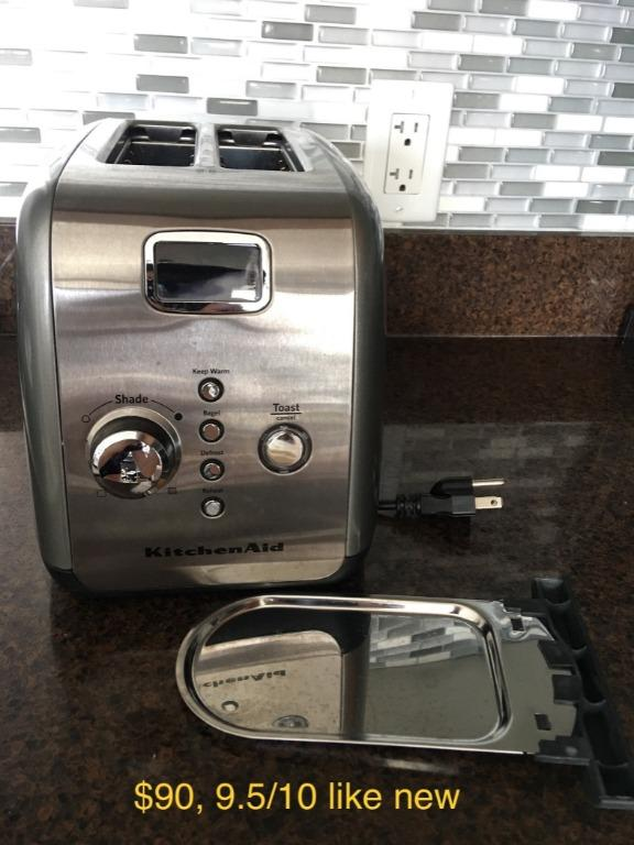 EUC KitchenAid 2-Slice Metal Toaster One-Touch Lift/Lower Digital Display