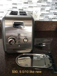 EUC KitchenAid 2-Slice Metal Toaster One-Touch Lift/Lower Digital Display