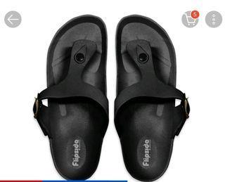 Flipside black patrene sandals