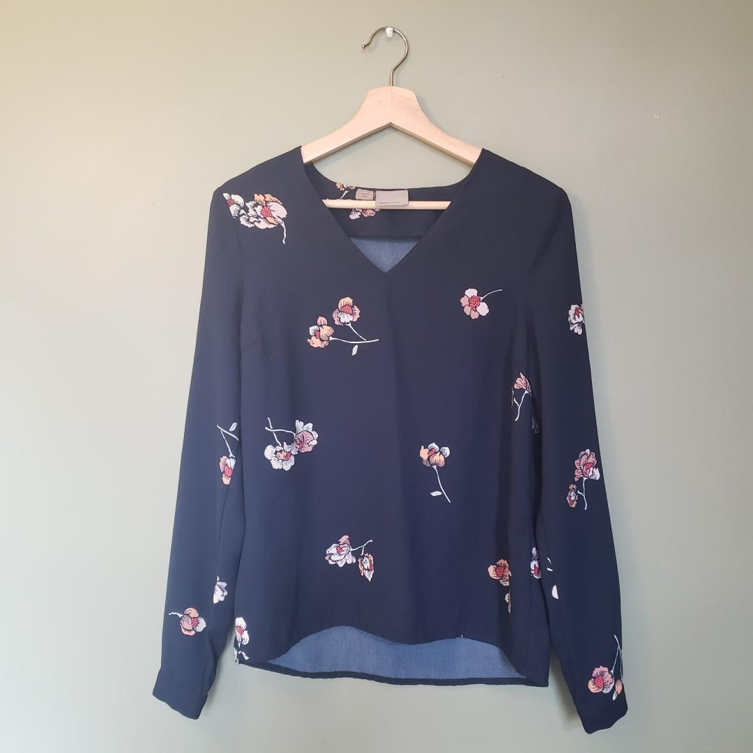 Floral Navy & Pink Blouse