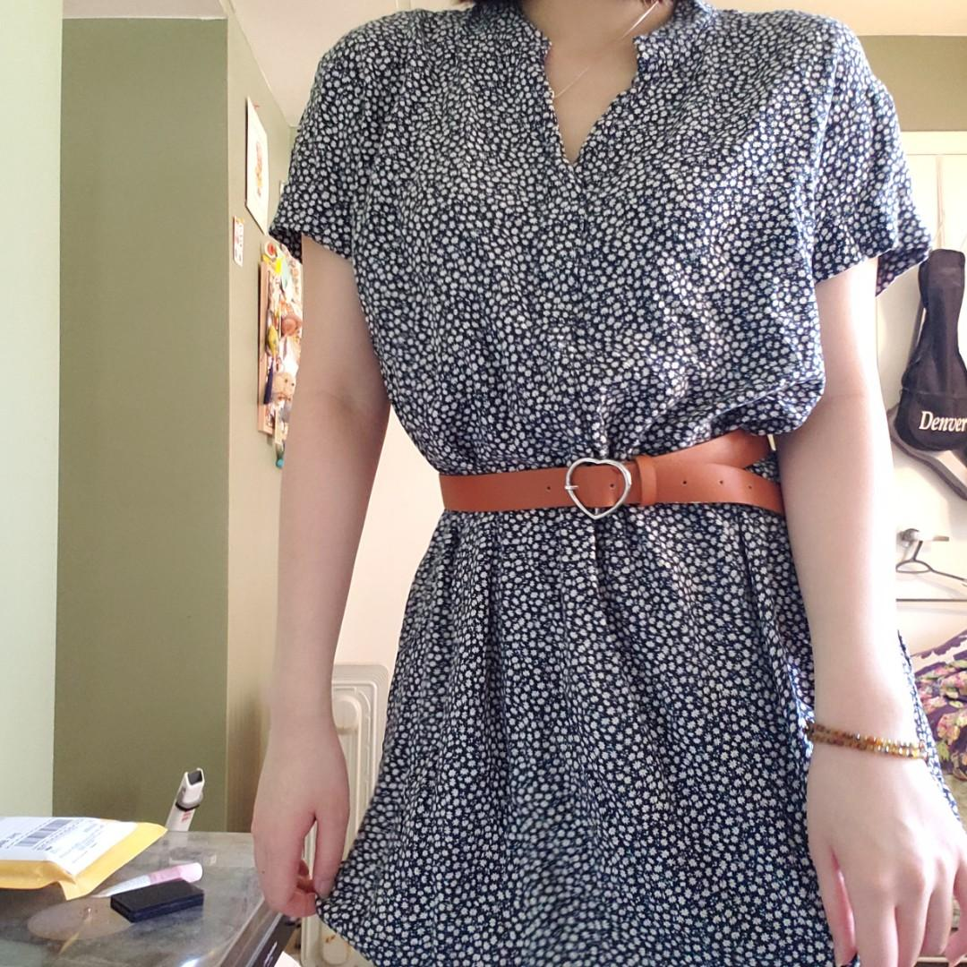 H&M Floral Dress, Navy and White patterns