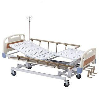 Hospital Bed 3 Cranks Manual Brown finish with plastic lever cranks