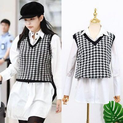 Houndstooth sweater vest with blouse