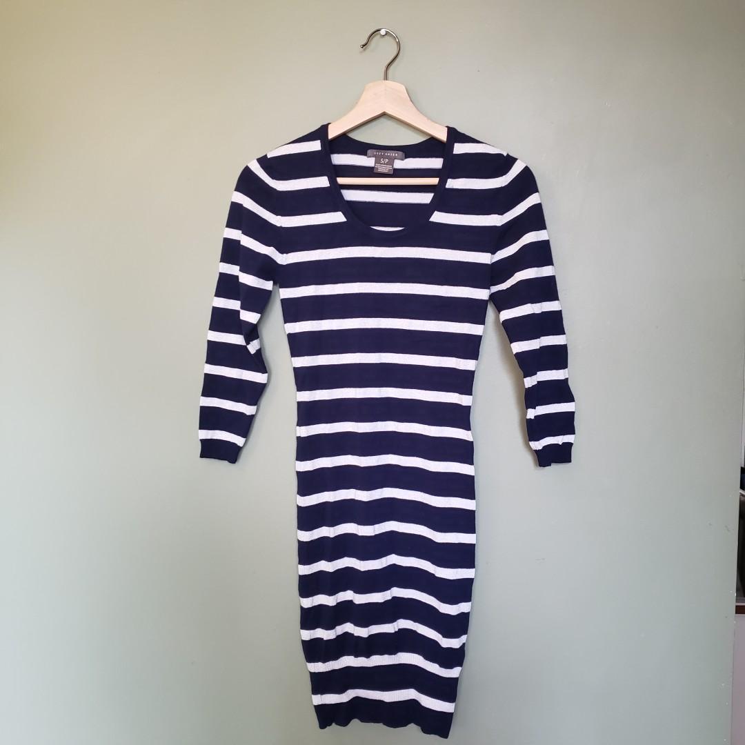 Navy & White striped bodycon dress