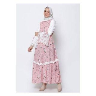 [NOT PRELOVED] Gamis cantik shabby chic motif bunga Miranda Lace Flare Exclusive Dress by Ellysha