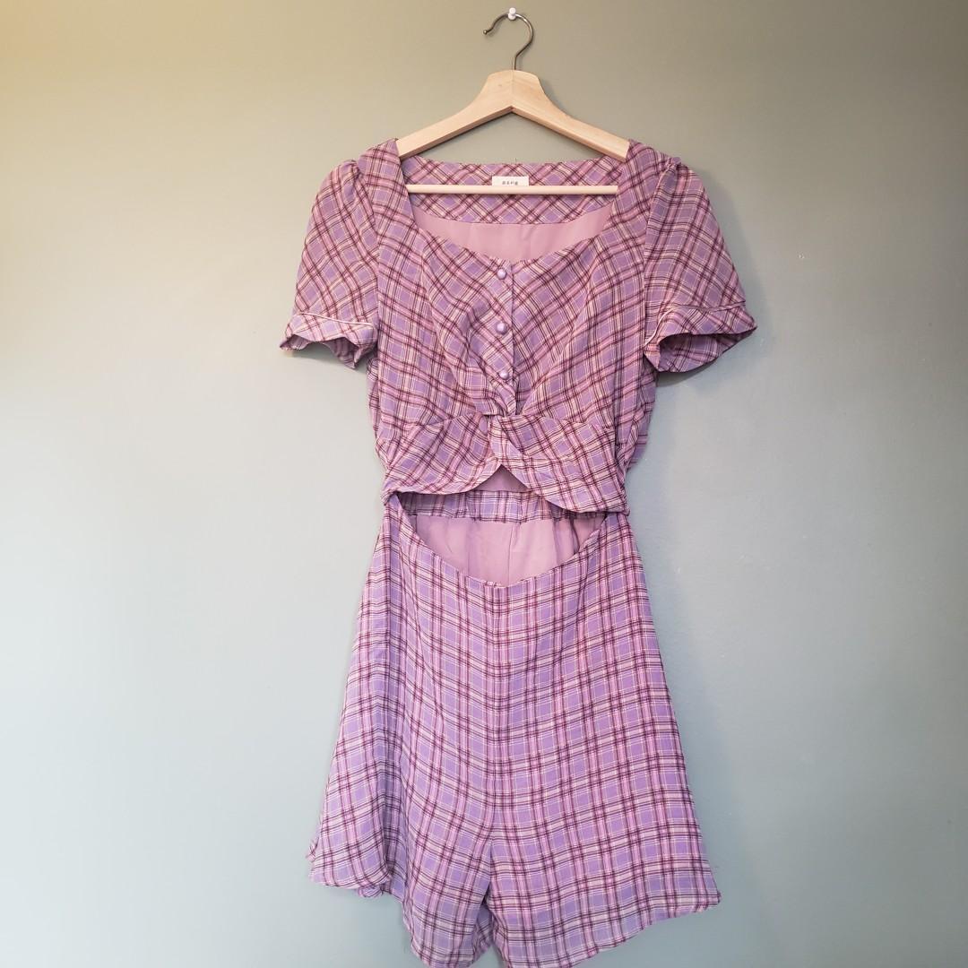 Purple pink plaid short-sleeve romper