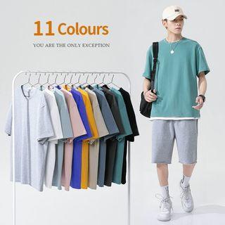 短袖t恤男士夏季新款糖果色復古短袖打底衫情侶體恤衣服1933914