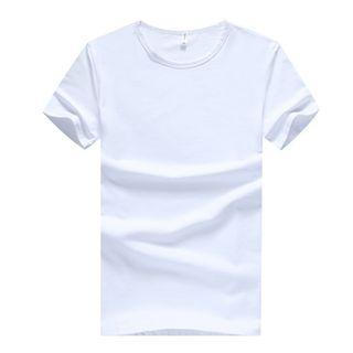 男士短袖T恤男純色半袖白色上衣圓領體恤打底空版文化衫 定制logo1932117