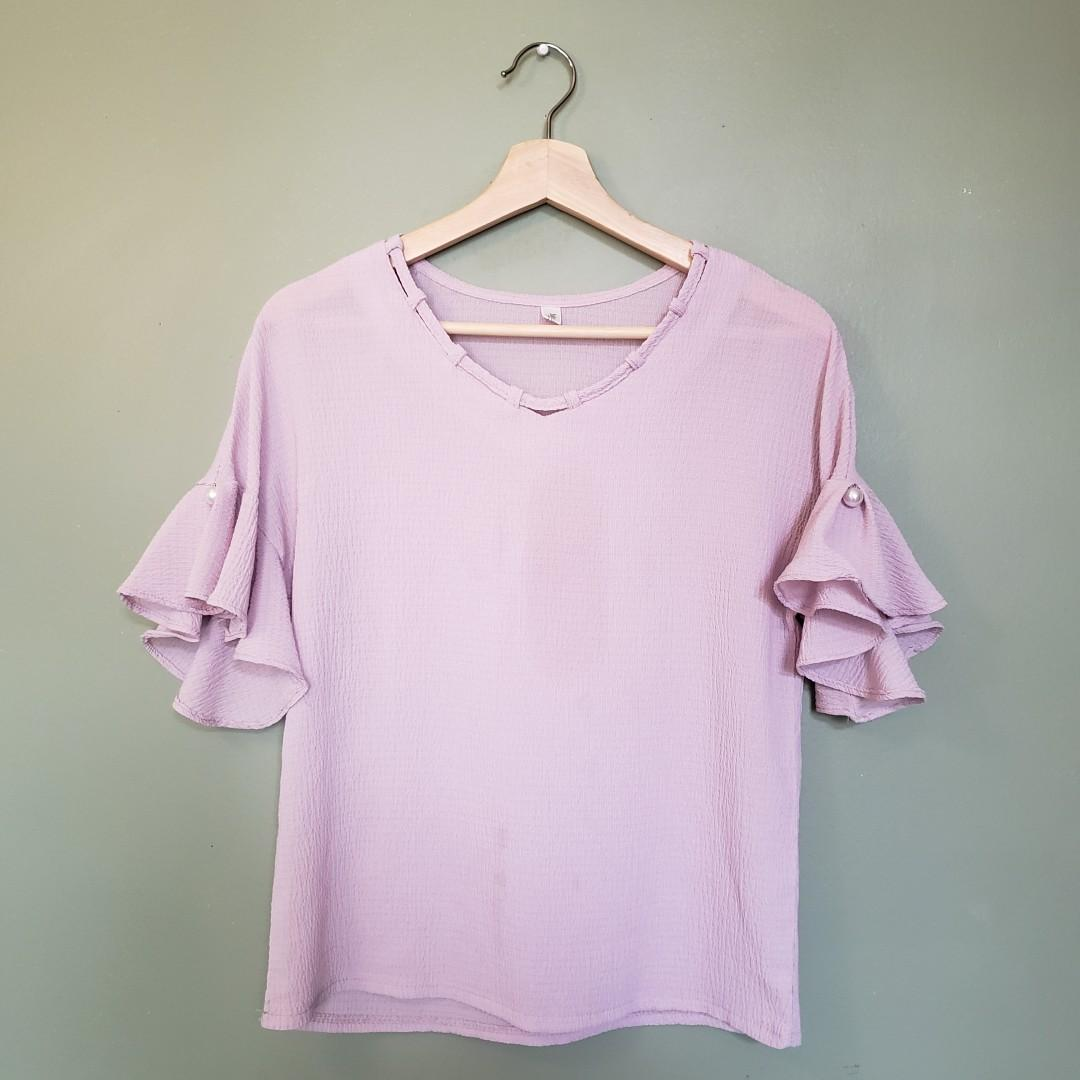 Taro purple pearl sleeve top / blouse