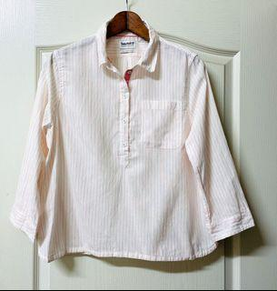Timberland女款七分袖直條紋襯衫