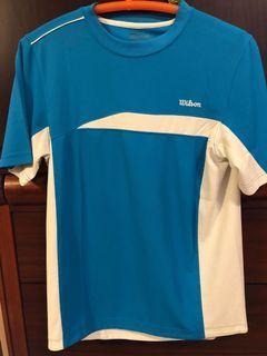 Wilson 網球品牌 排汗衫 吸濕排汗 短袖 水藍色