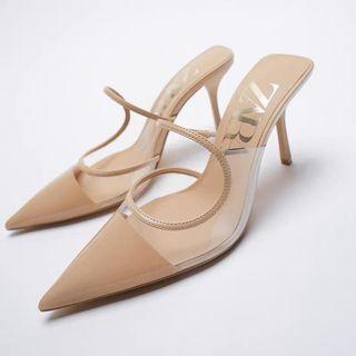 Zara - 987 Nude Cream Vinyl Heels
