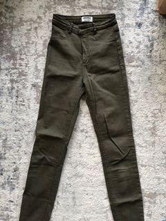 Zara olive green skinny jeans