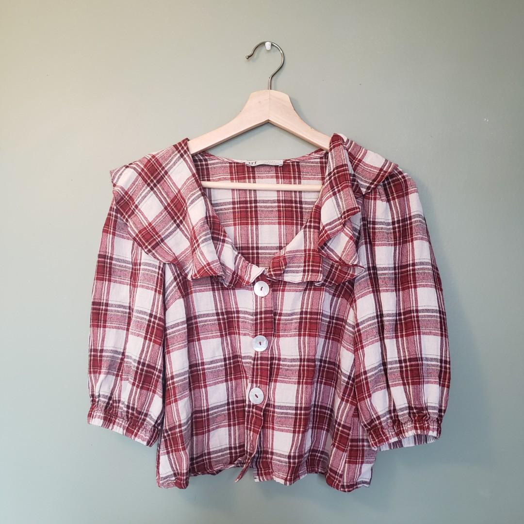Zara red & white plaid summer top blouse