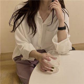 基本款百搭襯衫上衣(白)