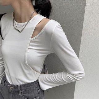 韓國小眾不對稱拼接長袖上衣(白)