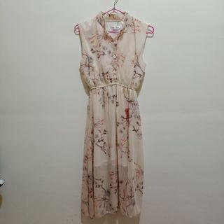 無袖雪紡洋裝 古典洋裝