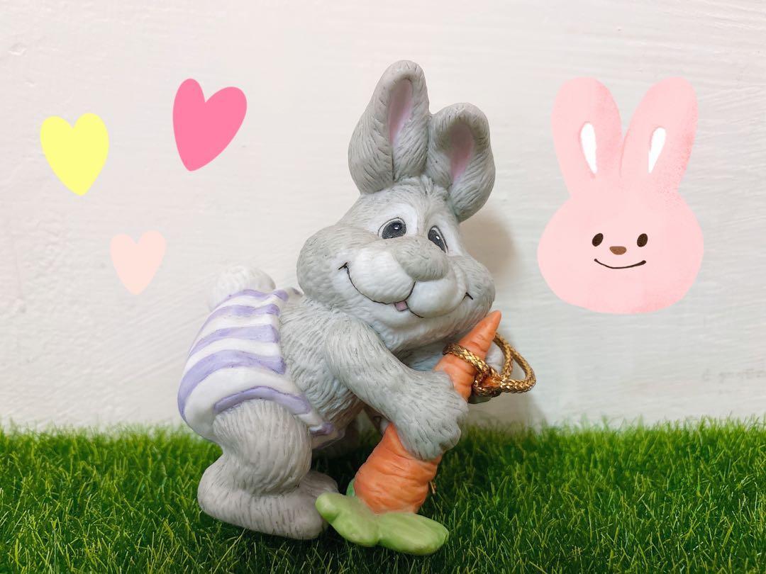 全新🎀絕版🥕兔子陶瓷娃娃 裝飾品