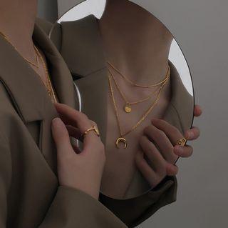 (新品現貨) 歐美日韓風簡約閨蜜同款金色三層疊戴項鍊精品首飾飾品(不可分開戴)#媽檔