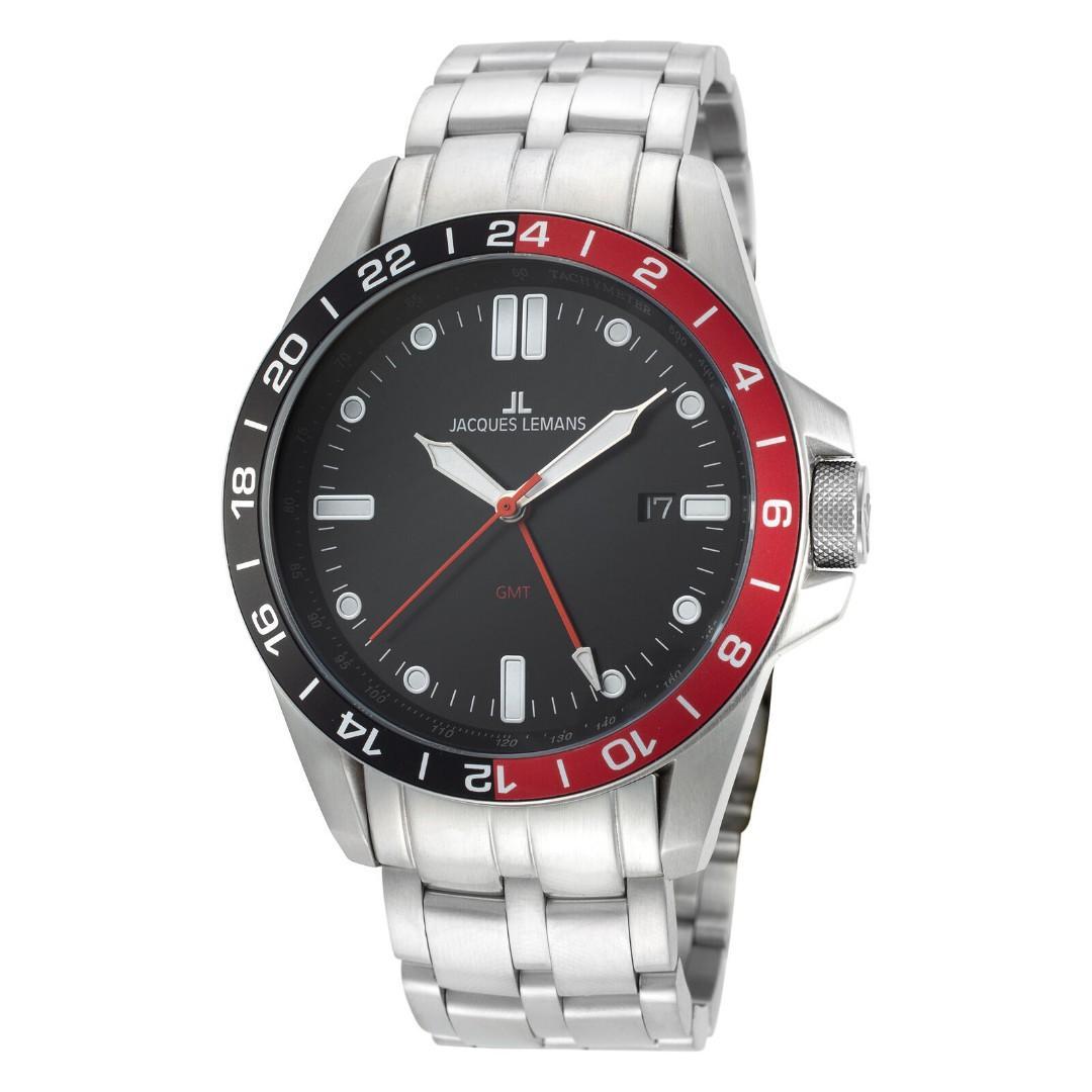 奧地利 Jacques Lemans 男錶 GMT 運動休閒 44mm 黑色錶盤 潛水錶