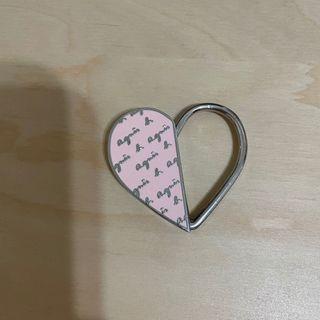 [agnes b.]愛心草寫logo鑰匙圈(2手)