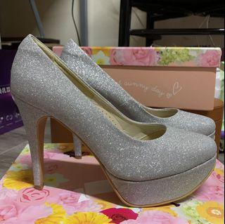 全新Ann's銀色高跟鞋25.5👠跟12cm