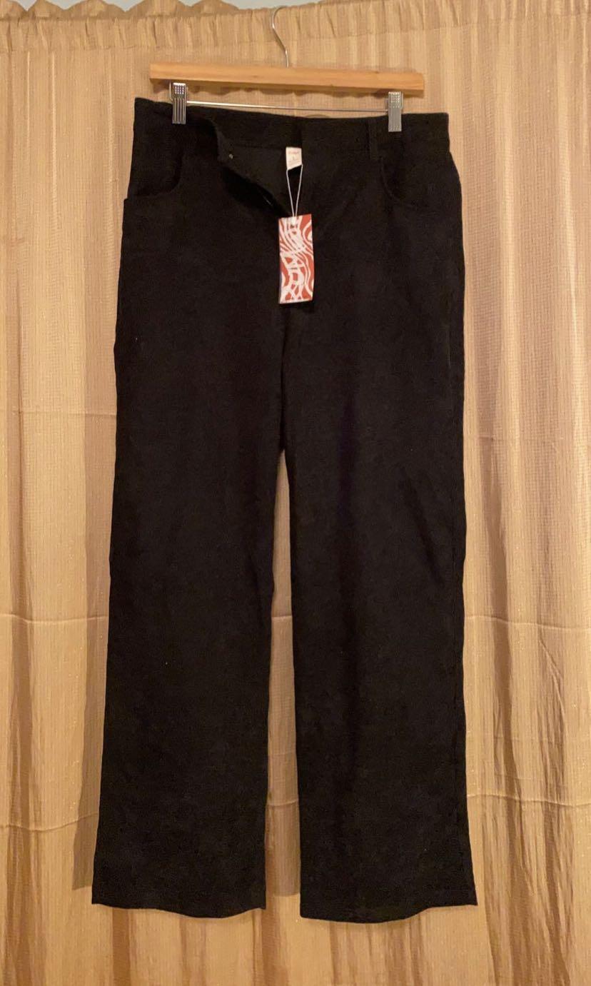 Black Corduroy Straight Leg Trousers