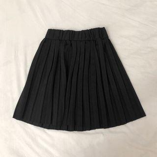 Brandy風高腰百搭黑色百摺裙