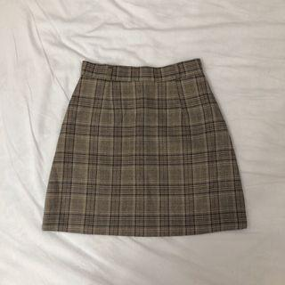 Brandy風高腰棕格紋短裙