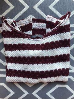 Burgundy and White Stripped Sweater
