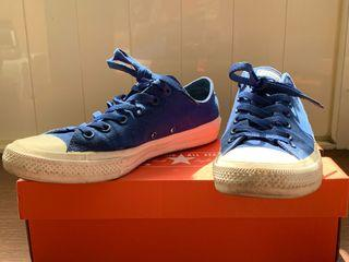 Converse 藍色運動織布面+Nike鞋墊帆布鞋