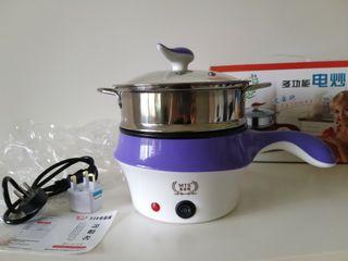 Electric nonstick frying pot with Steamer basket layer -  2 in 1 with Glass Cover