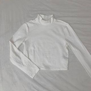 H&M 純白立領短版長袖上衣