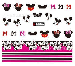 1張迪士尼米妮米奇老鼠兒童水轉印指甲貼紙 1 Sheet Disney Mickey Minnie Mouse Water Transfer Nail Sticker 54x61mm