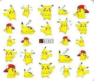 1張寵物小精靈比卡超兒童水轉印指甲貼紙 1 Sheet Pokemon Go Pikachu Water Transfer Nail Sticker 54x61mm
