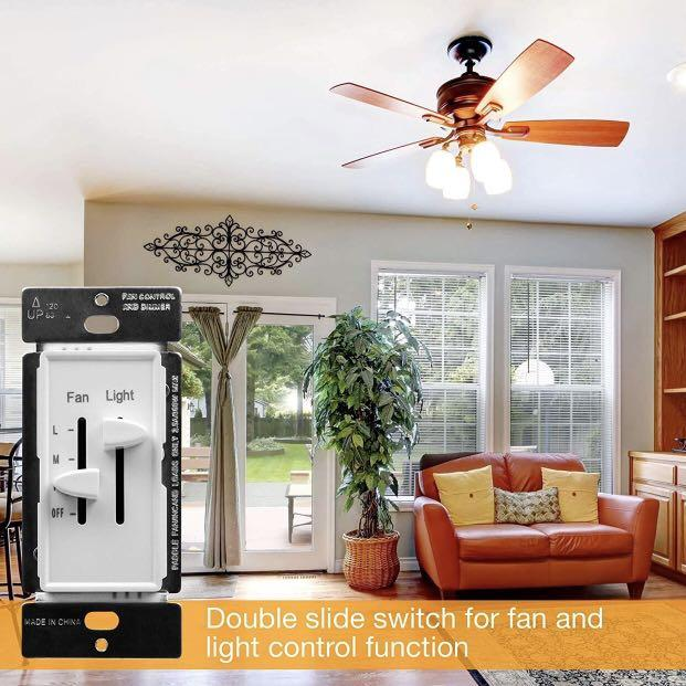 2 PACK ENERLITES Slide Fan Speed Control & Slide Dimmer