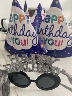 6 Birthday hats and 1 birthday sunglass