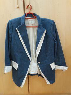 品牌牛仔布修身西裝外套