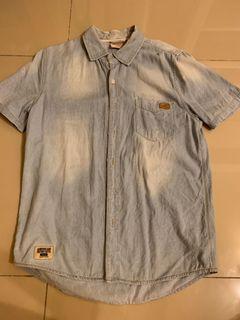 水洗牛仔短袖襯衫