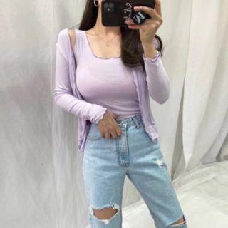 薄外套 防曬衫 韓版合身針織開衫外套 紫 #斷捨離