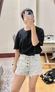 淺藍 高腰 排扣 牛仔 短褲 #女裝賣家