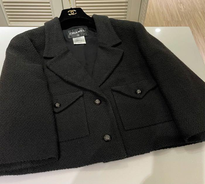 近年款 CHANEL The Little Black Jacket 超級經典小黑圓肩寬袖毛呢