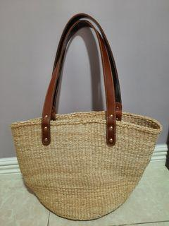 Abacca Bag with genuine leather strap