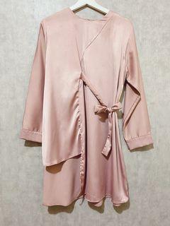 Asymmetric tunic dusty pink