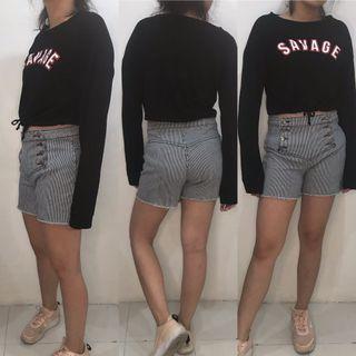 Black crop top shirt & highwaist shorts