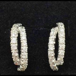 Double Row Studded Half Hoop Earring